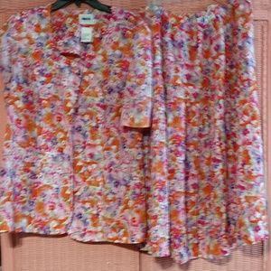 Skirt suit set floral multicolor